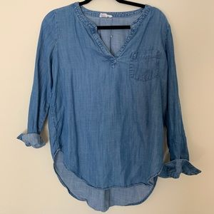 Denim half button up blouse